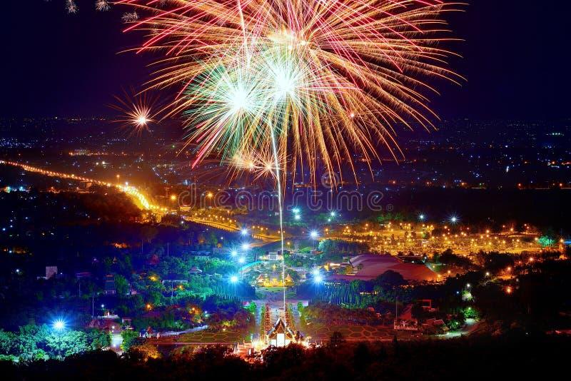 Firework. Celebration Chiangmai, Thailand stock images
