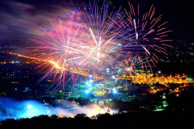 Firework. Celebration Chiangmai, Thailand stock image