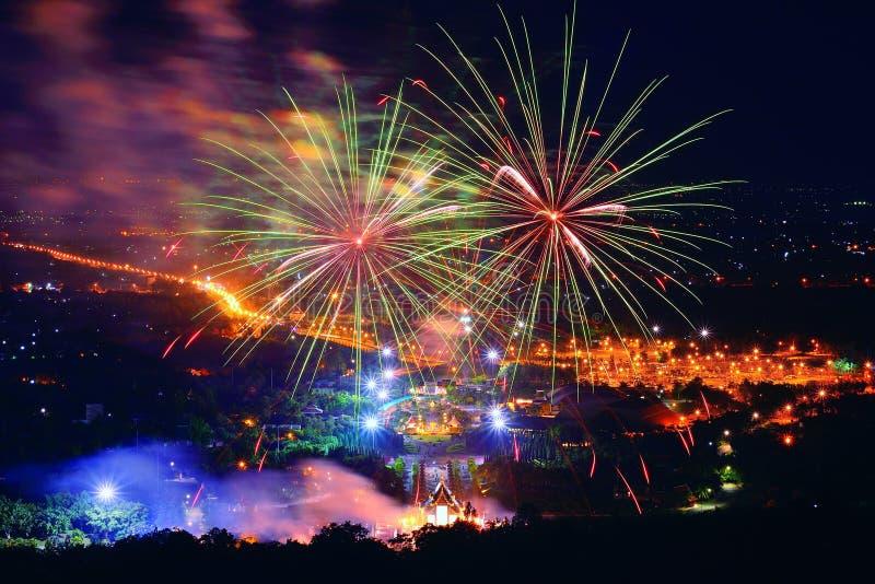 Firework. Celebration Chiangmai, Thailand stock photo