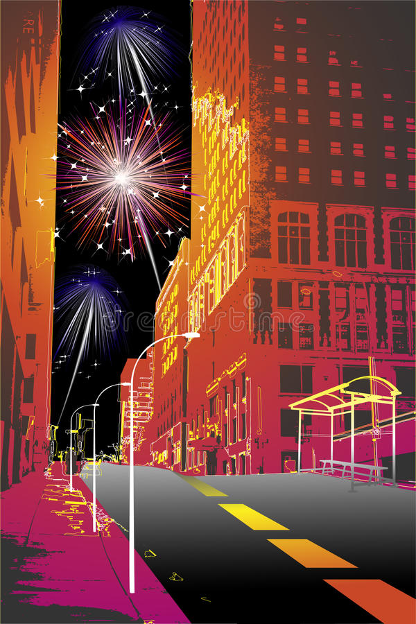 Download Firework in the city stock vector. Image of carnival - 12239886