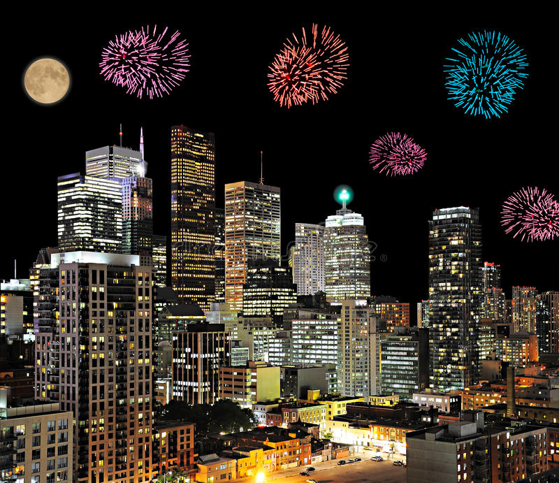 Firework in the city. Firework above the modern city center royalty free stock photography