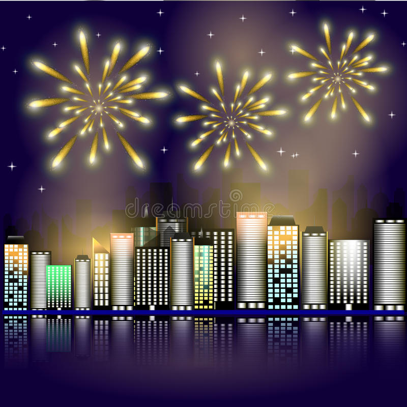 Firework in the city.Firework in the night sky in the town. Stars in the night sky lighting with firework. royalty free illustration