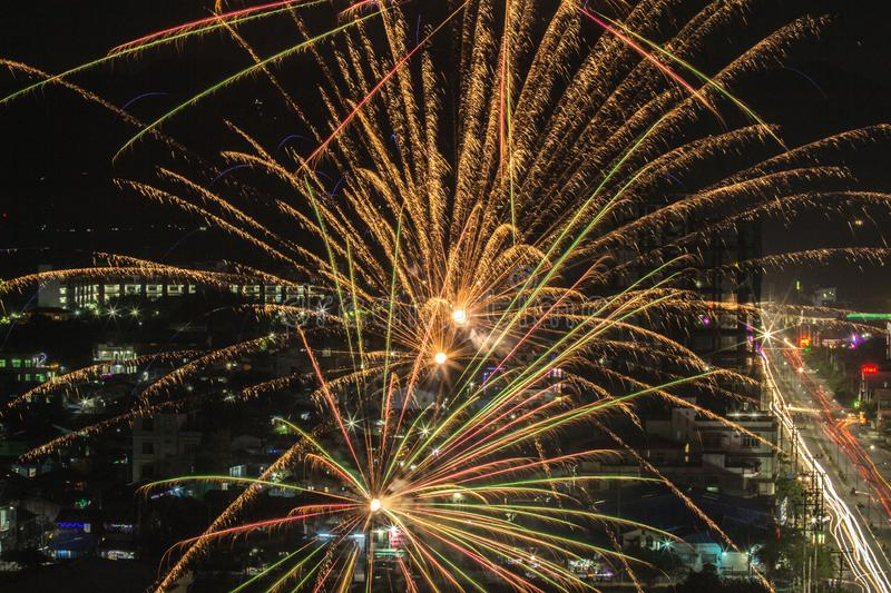Firework colorful on night city view stock photos