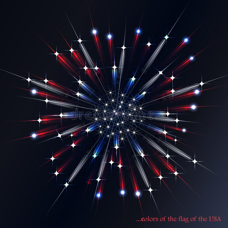 Firework in the colors of the American flag stock illustration
