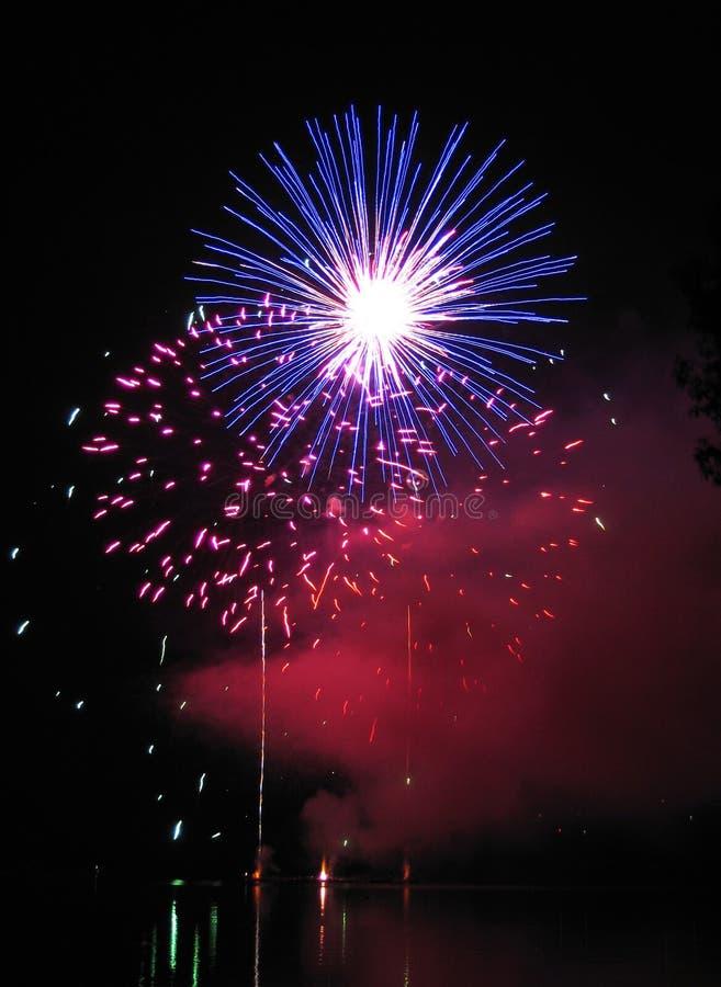 Firework on dam stock images