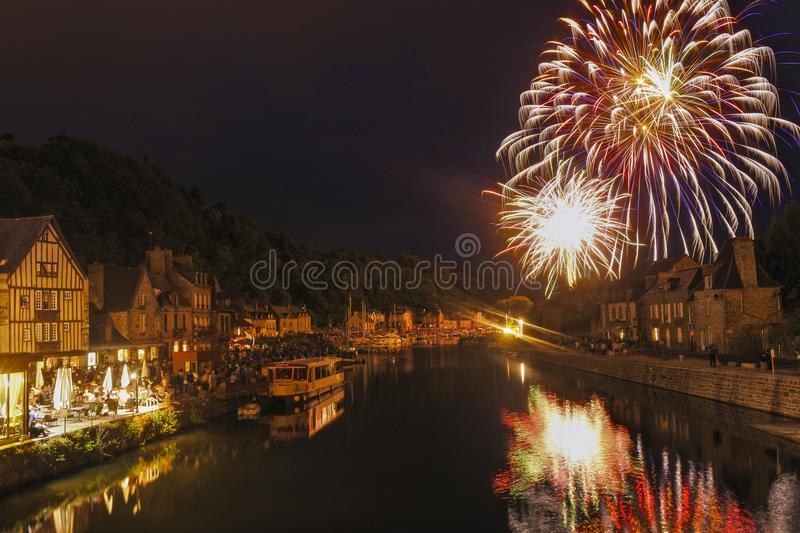 Firework display in Dinan, France stock images