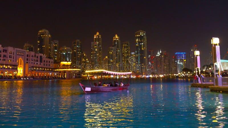 Firework display at Dubai marina at night, UAE 2018 royalty free stock photos