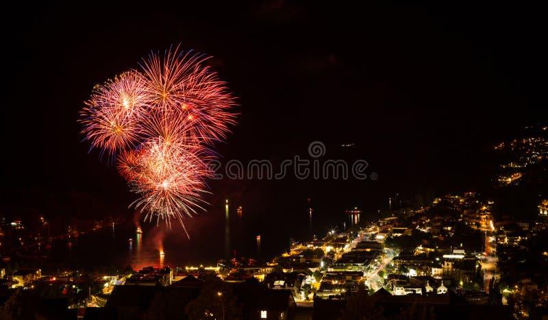Firework display in Queenstown. New Zealand stock photos