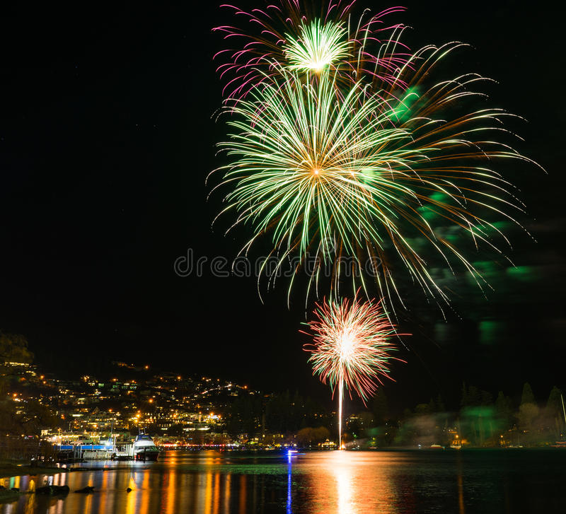 Firework display in Queenstown. New Zealand royalty free stock images