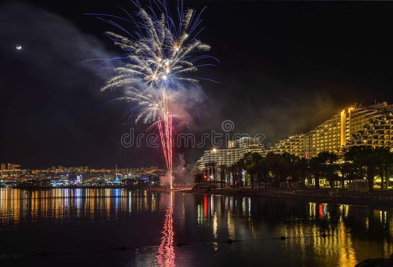 Firework in Eilat - premier tourism resort in Israel. Eilat is a famous resort, recreational and tourist city in Israel stock image