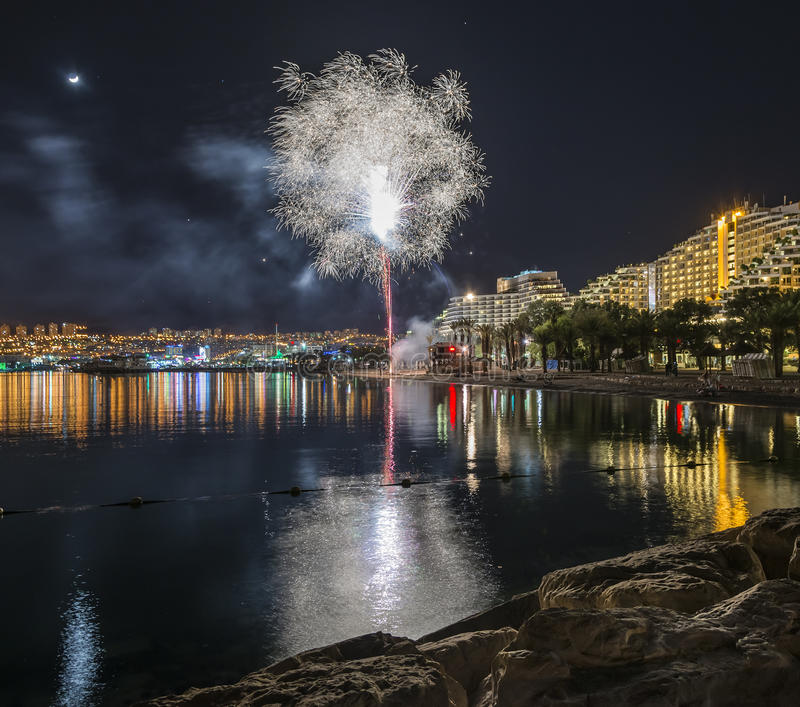 Firework in Eilat - premier tourism resort in Israel. Eilat is a famous resort, recreational and tourist city in Israel stock photography