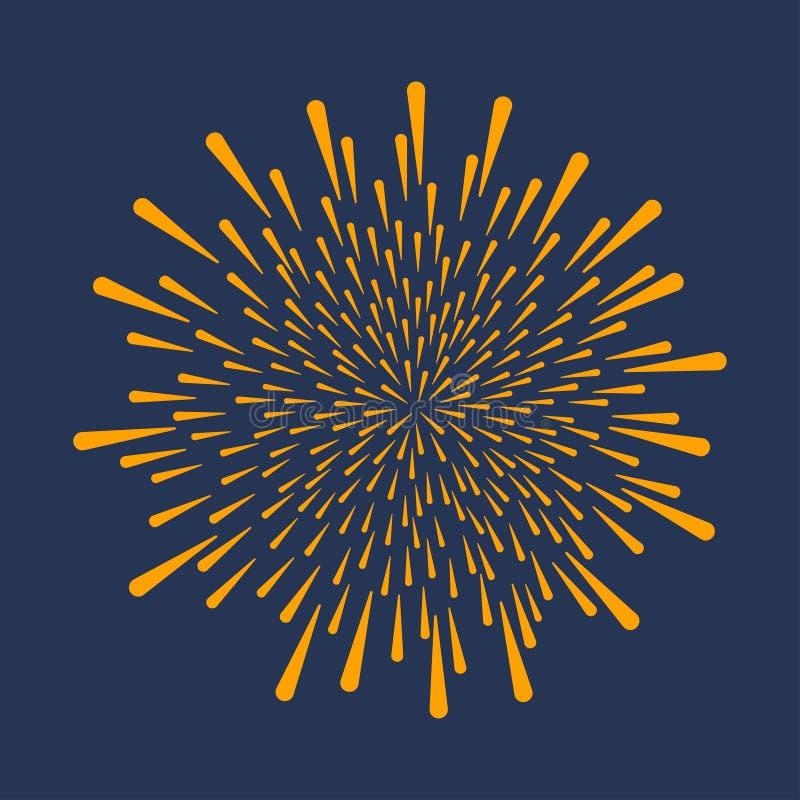 firework Esplosione festiva, celebrazione che scoppia, saluto di anniversario isolato su fondo scuro Vettore illustrazione vettoriale