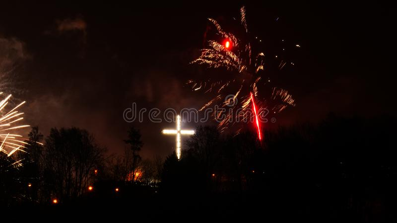 Colorful fireworks at holiday night royalty free stock photos