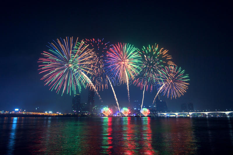 Firework festival in Korea. royalty free stock photography