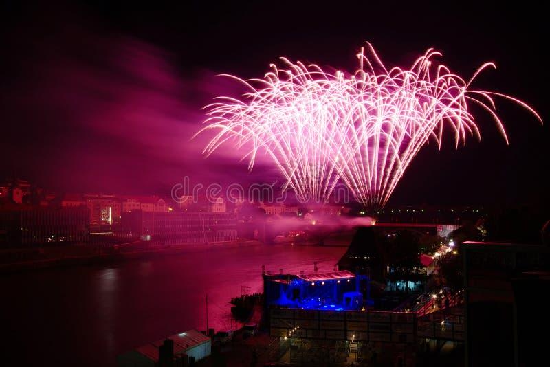 Firework at Festival Lent in Maribor stock photo