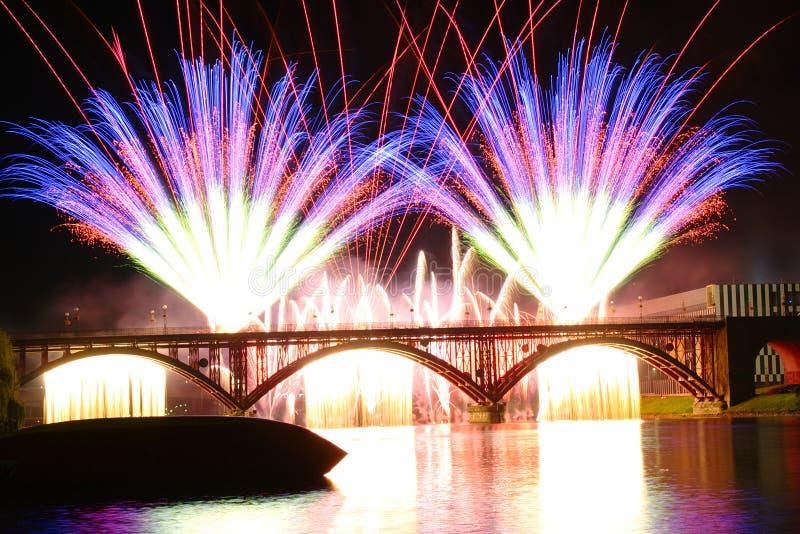 Firework at Festival Lent in Maribor, Slovenia royalty free stock photos