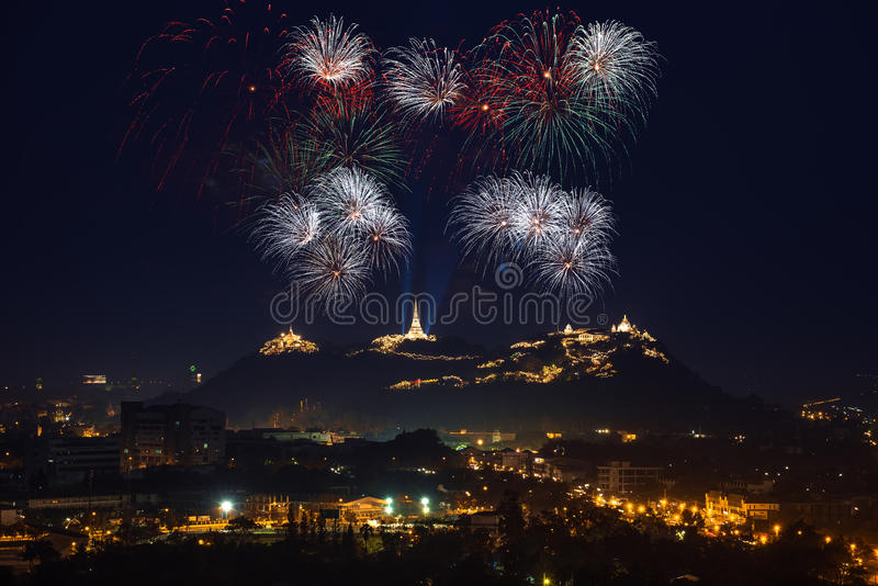 Firework festival in thailand royalty free stock photo