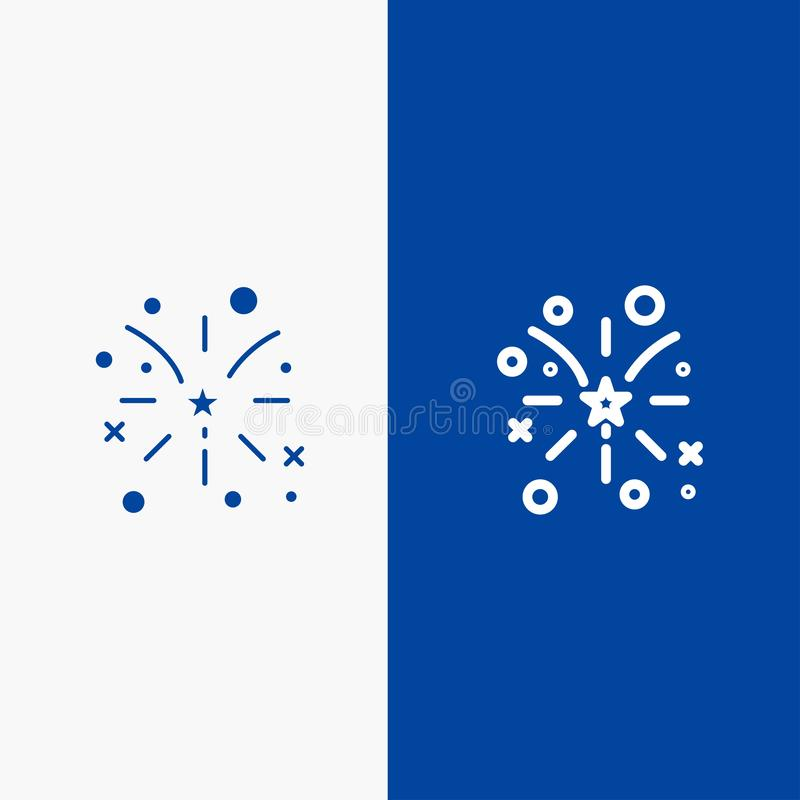 Firework, Fire, American, Usa Line and Glyph Solid icon Blue banner Line and Glyph Solid icon Blue banner stock illustration