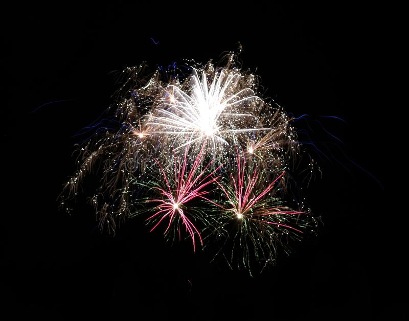 Firework. S, multicolor, celebration, night, long, longexposure, glowing, light, background, black, dark, sky, blurred stock image