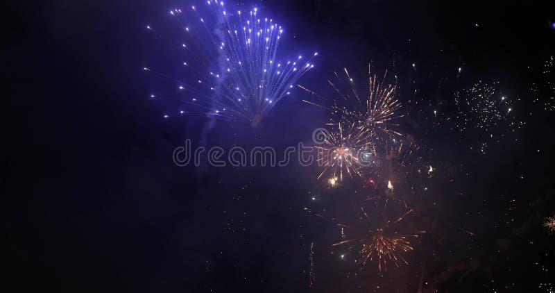 firework Fogo de artifício brilhante comemorativo em um céu noturno imagens de stock