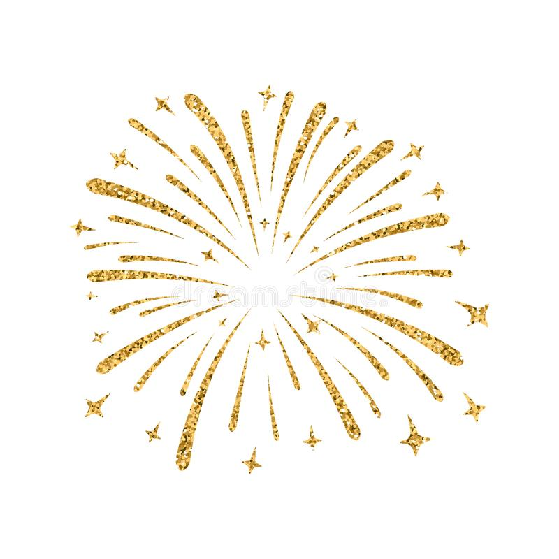Firework gold isolated. Beautiful golden firework on white background. Bright decoration for Christmas card, Happy New Year celebration, anniversary, festival vector illustration