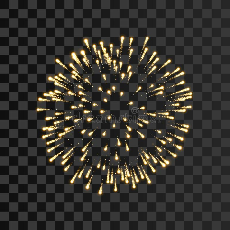Firework gold sparkle isolated transparent background. Beautiful golden fire, explosion decoration, holiday, Christmas stock illustration