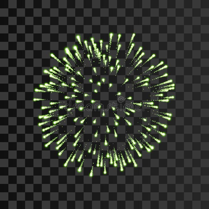Firework green bursting isolated transparent background. Beautiful night fire, explosion decoration, holiday, Christmas vector illustration
