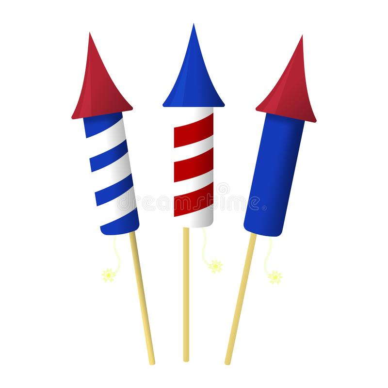 Firework Icon. Happy 4 th July and Independence Day. Cartoon Vector illustration.  royalty free illustration