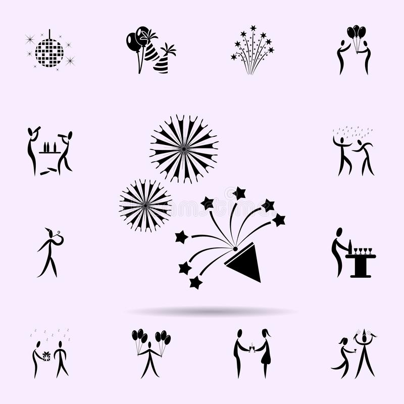 Firework icon. Party icons universal set for web and mobile. On color background stock illustration