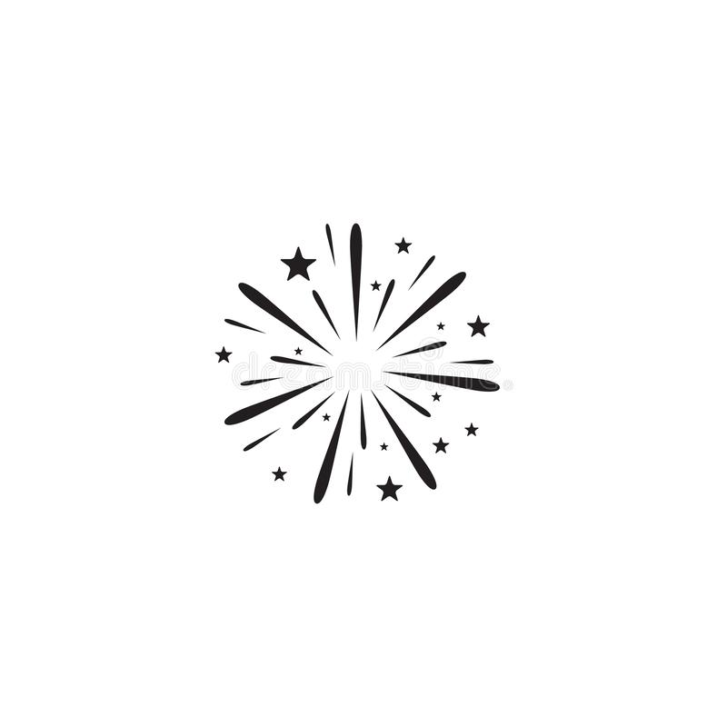 Firework icon. Sign vector white. Firework icon. Sign vector on white stock illustration