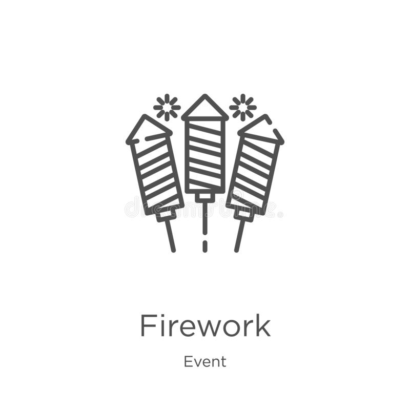 firework icon vector from event collection. Thin line firework outline icon vector illustration. Outline, thin line firework icon stock illustration