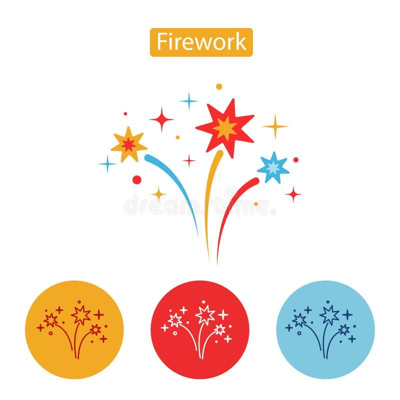 firework Icona piana su fondo bianco illustrazione di stock