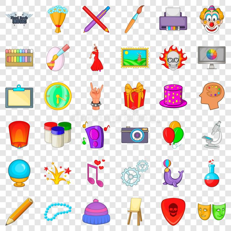 Firework icons set, cartoon style. Firework icons set. Cartoon style of 36 firework vector icons for web for any design royalty free illustration