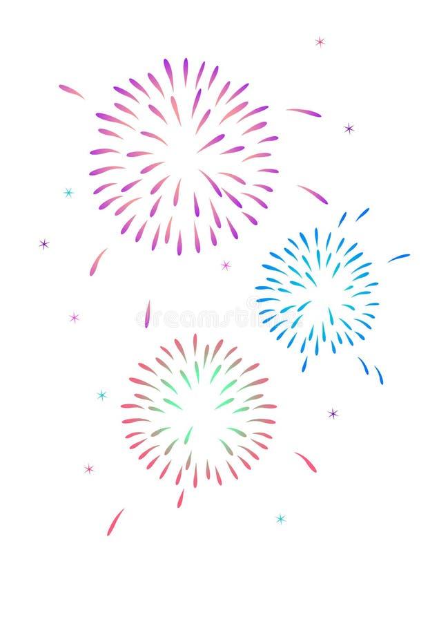 Firework. Illustration of three firework explosions vector illustration