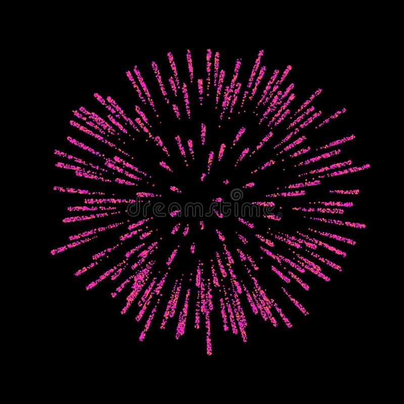 Firework isolated. Beautiful salute on black background. Bright firework decoration for Christmas card, Happy New Year royalty free illustration