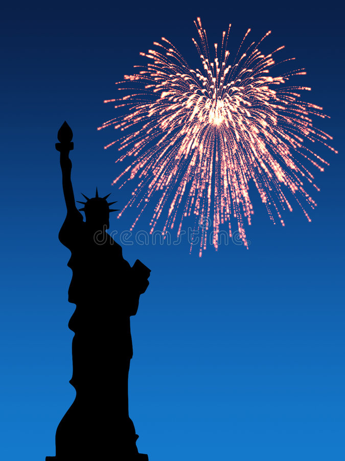 Firework July 4th. July 4th Fireworks, Statue of Liberty stock illustration