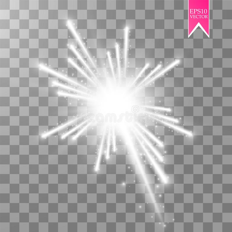 Firework lights effect with glowing stars in sky isolated on transparent background. Vector white festive party rocket. Burst or salute show for your design royalty free illustration