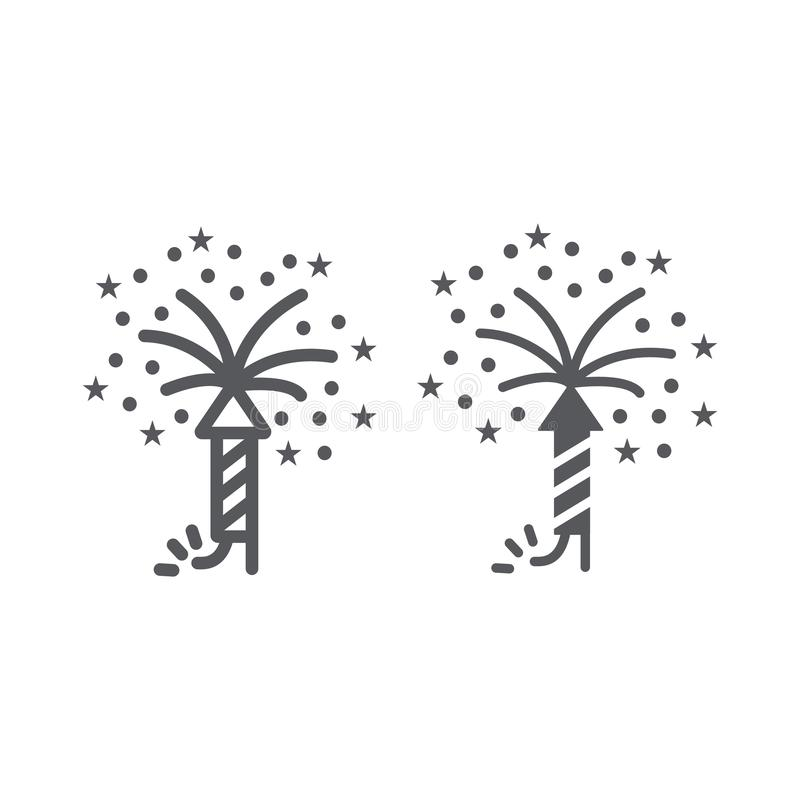 Firework line and glyph icon, party and festival, firecracker sign, vector graphics, a linear pattern on a white. Background, eps 10 stock illustration