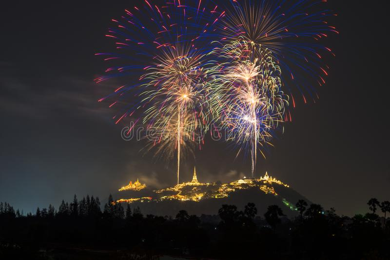 Firework over the mountain in the festival royalty free stock photos