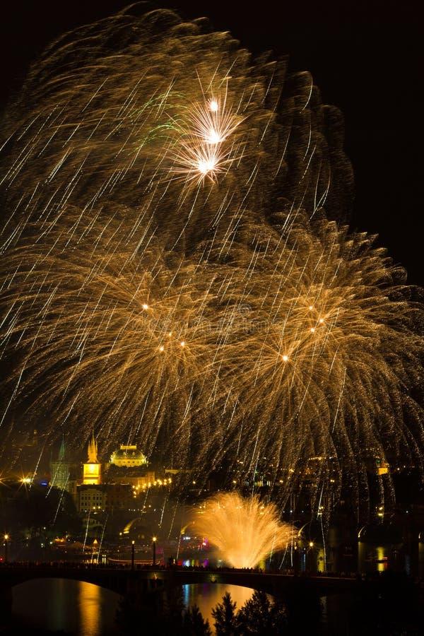Download Firework over Vltava river stock photo. Image of explosion - 22595600