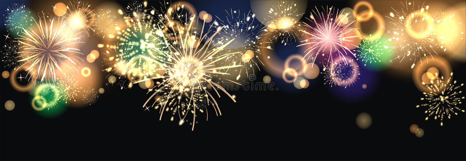 Firework. Party background with colorful firework stock illustration