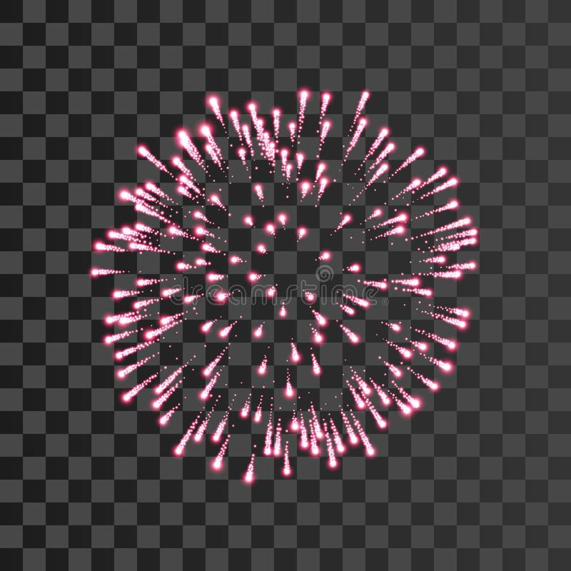 Firework pink bursting transparent background. Beautiful night fire, explosion decoration, holiday, Christmas royalty free illustration