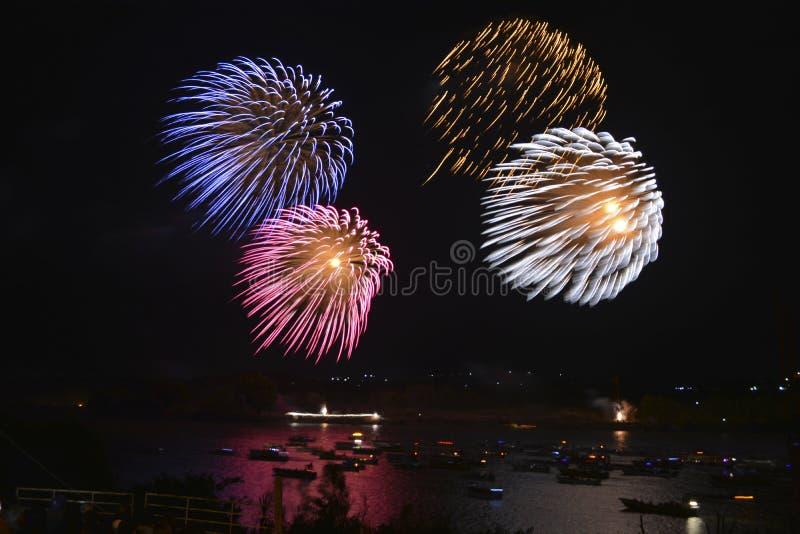 Firework on the river stock photos