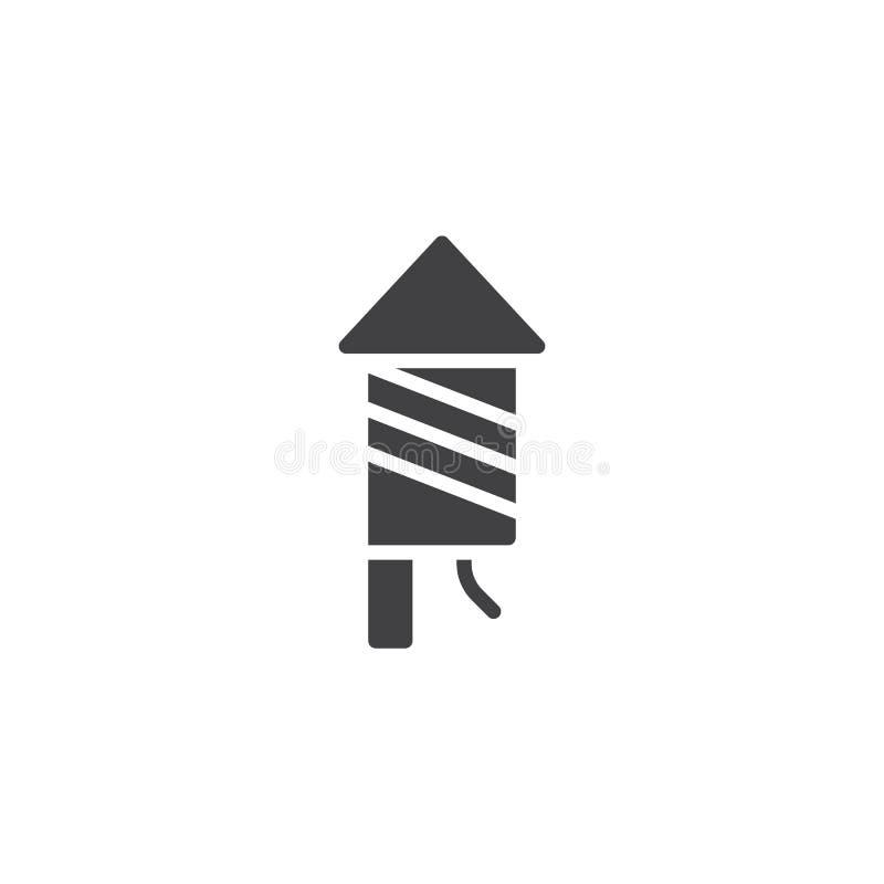 Firework rocket icon vector. Filled flat sign, solid pictogram isolated on white. Petard symbol, logo illustration stock illustration