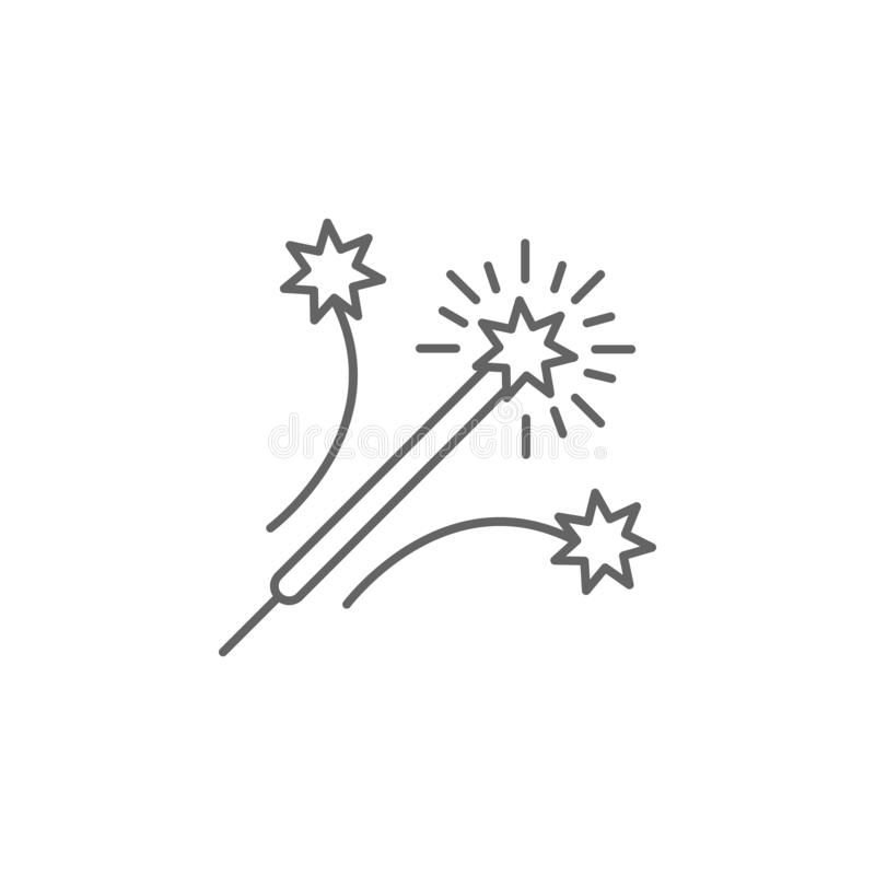 Firework rocket outline icon. Elements of independence day illustration icon. Signs and symbols can be used for web, logo, mobile. App, UI, UX on white vector illustration