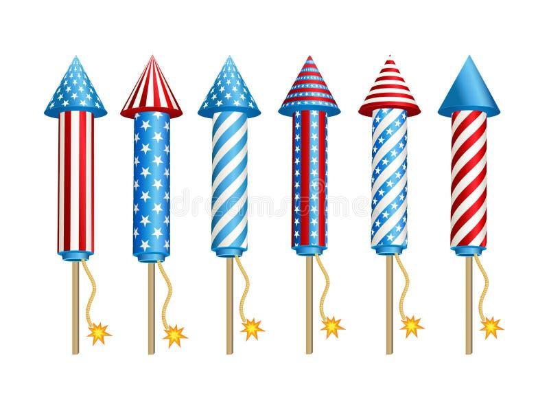 Firework rockets in American national flag colors. vector illustration