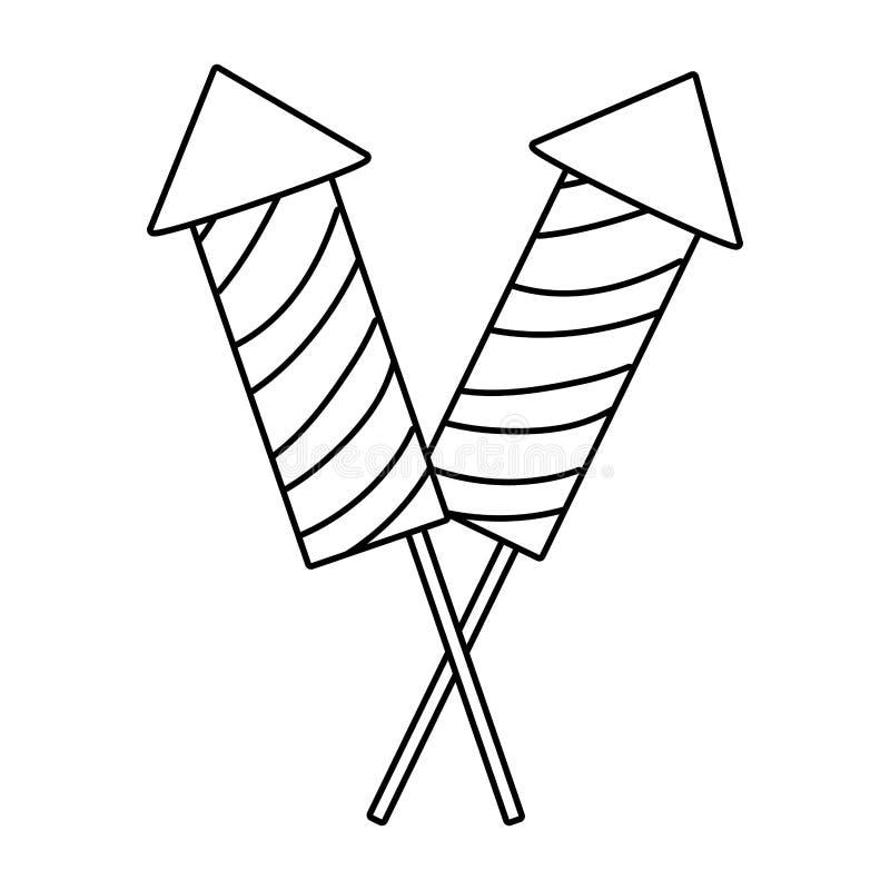 Firework rockets cartoon vector illustration