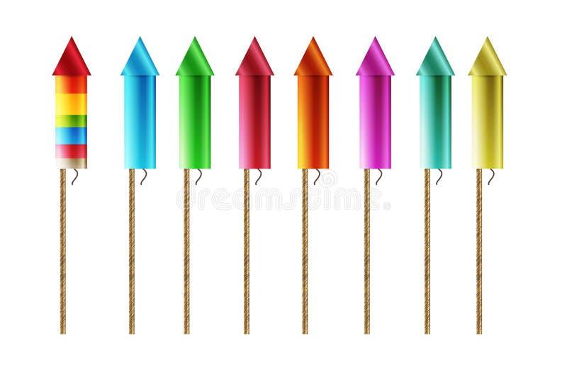 Firework rockets vector illustration