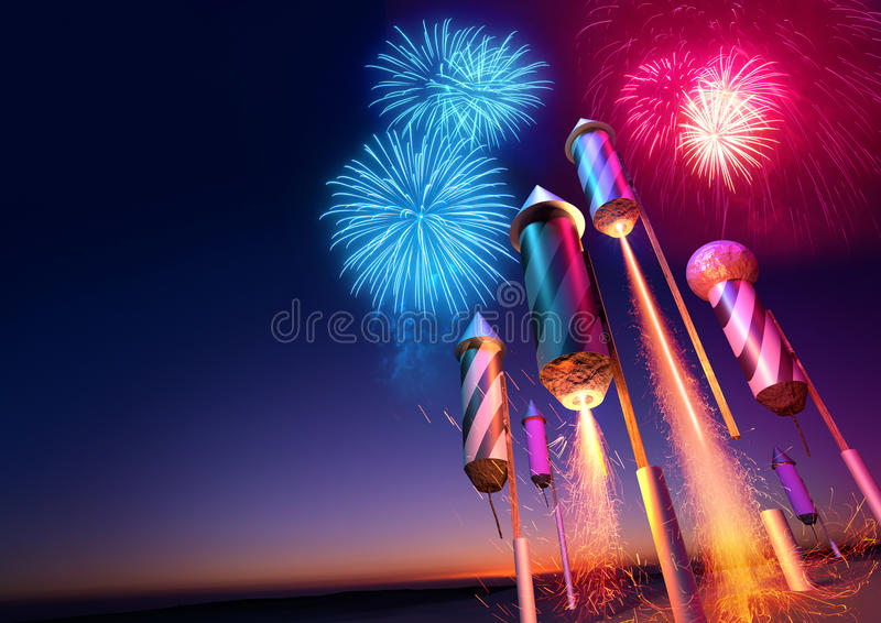 Firework Rockets Launching. Into the night sky. Fireworks event background. 3D illustration royalty free illustration