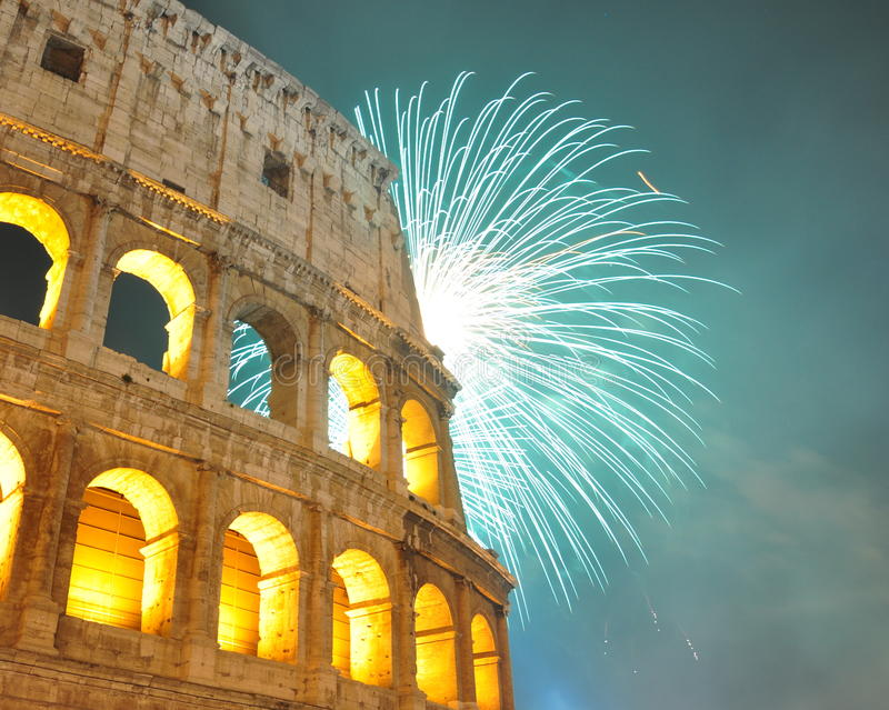 Firework in Rome royalty free stock photo